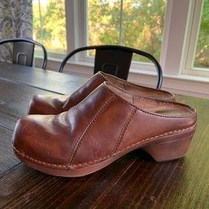 Dansko Brown Leather Nurse Clogs Mules Shoes